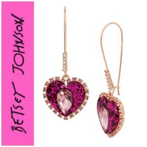 Betsey Johnson Pink Glitter Halo  Drop Earrings